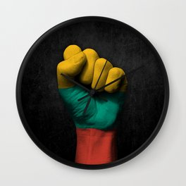 Lithuanian Flag on a Raised Clenched Fist Wall Clock