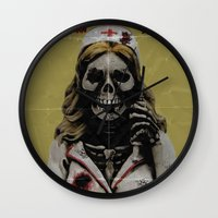 nurse Wall Clocks featuring Killer Nurse by Bleachydrew