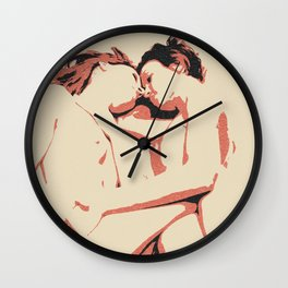 Girls love to play naughty, dirty, kinky - sexy conte abstract, nude erotic, hot naked lesbians Wall Clock