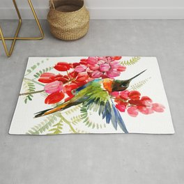 Collared Inca Hummingbird and Coral Pink Flowers Rug