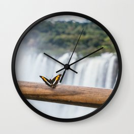 Butterfly over Iguazu Falls, Argentina Wall Clock