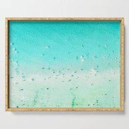 Beach Art, Aerial Beach Photography, Beach Print, Ocean Print, Beach Print With People, Blue Coastal Art, Aerial Beach Print Serving Tray