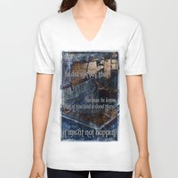 hemingway V-neck T-shirts featuring Ernest Hemingway by Ginevra