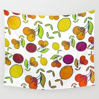 fruits Wall Tapestries featuring Fruits by VessDSign