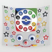 cartoons Wall Tapestries featuring Retro Vintage smiley kids Toys Dial Phone iPhone 4 4s 5 5s 5c, ipod, ipad, pillow case and tshirt by Three Second