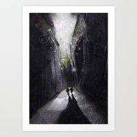 running Art Prints featuring Running. by shugmonkey