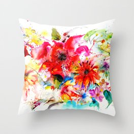 Watercolor garden II Throw Pillow