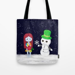 Snowman Jack and Sally with Poinsettia Tote Bag