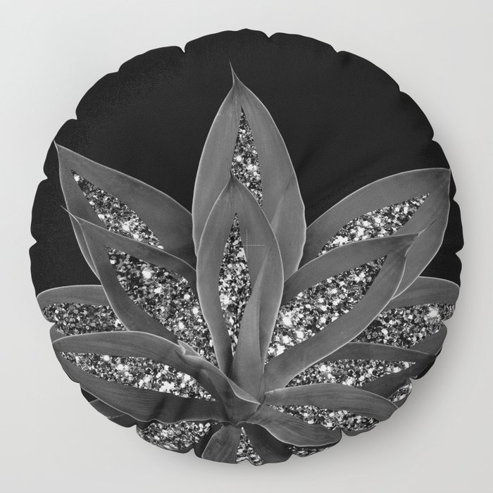 Gray Black Agave with Black Silver Glitter #2 #shiny #tropical #decor #art #society6 Floor Pillow
