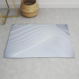Cool White Concentric Waves Rug