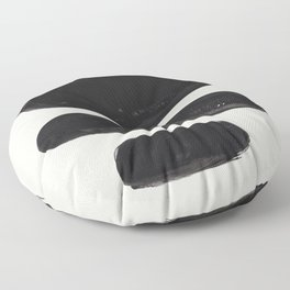 Mid Century Modern Minimalist Abstract Art Brush Strokes Black & White Ink Art Tribal Pebbles Floor Pillow