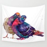 takmaj Wall Tapestries featuring Pigeons by takmaj