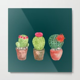 Three Cacti watercolor green Metal Print