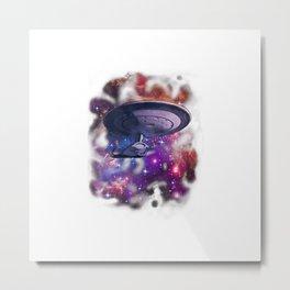 Distressed Galaxy Space Enterprise Starship T-Shirt Metal Print