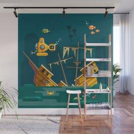 Looking for underwater treasure Wall Mural