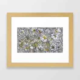 Grey Peony Framed Art Print