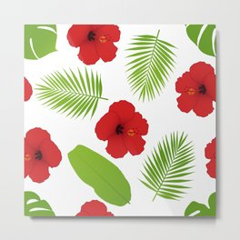 Red hibiscus and palm leaves seamless pattern. Metal Print