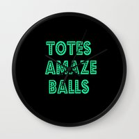 totes Wall Clocks featuring totes amaze balls by  Alexia Miles photography