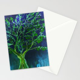 Green fruit tree with blue background Stationery Cards