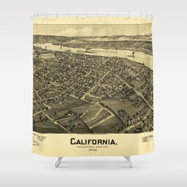 Aerial View of California, Pennsylvania by T.M. Fowler (1902) Shower Curtain