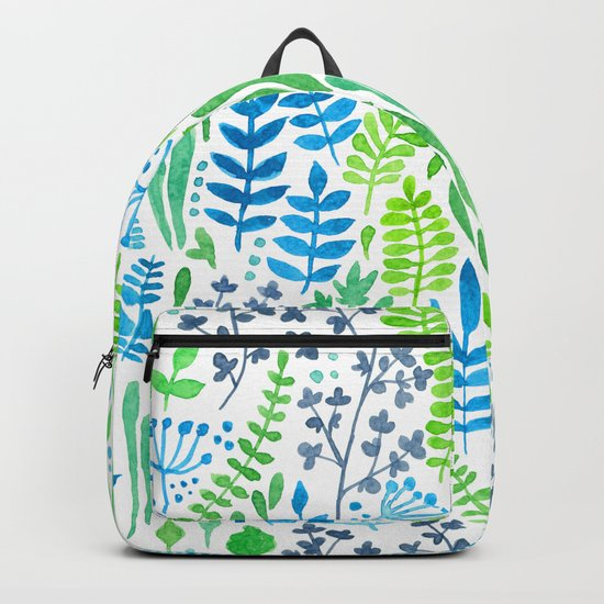 Watercolor floral doodles white Backpack