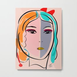 Pastel Pop Art Girl Portrait Minimalist Metal Print