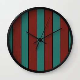 Retro rustic lined art red and teal Wall Clock