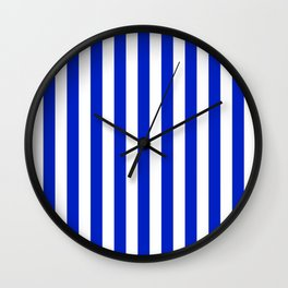 Cobalt Blue and White Vertical Beach Hut Stripe Wall Clock