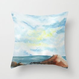 2019 Watercolor Sea Scape Series 005 Watercolor Painting Throw Pillow