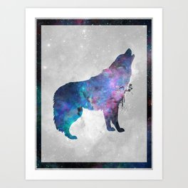 Galaxy Series (Wolf) Art Print
