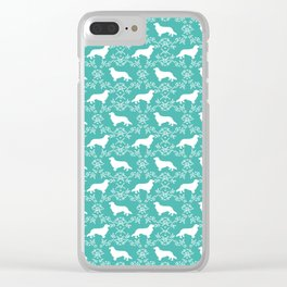 Cavalier King Charles Spaniel silhouette florals dog breed gifts Clear iPhone Case