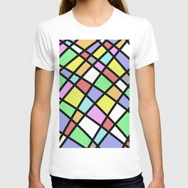Crazy Pastel Paving - Abstract, pastel coloured mosaic paved pattern T-shirt