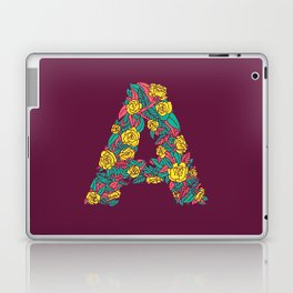 Floral Type - Letter A - Wine Berry Laptop & iPad Skin