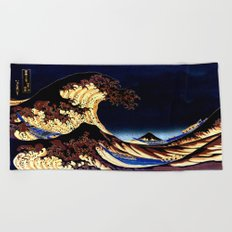 The GREAT Wave Midnight Blue Brown Beach Towel