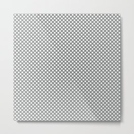 Neutral Gray and White Polka Dots Metal Print