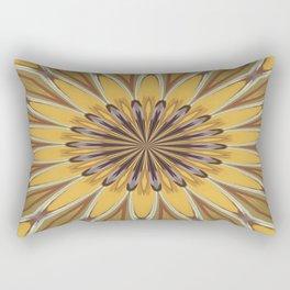 Yellow and Ochre Flower Pattern Abstract Rectangular Pillow