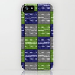 Tribal Patchwork in Navy, Lime and Gray iPhone Case