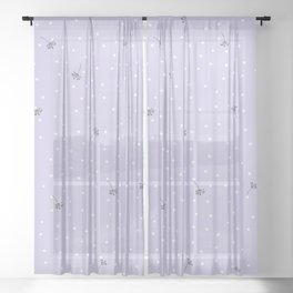 flying dandelion seeds simple Christmas seamless pattern and White Confetti on Purple Pastel Background Sheer Curtain