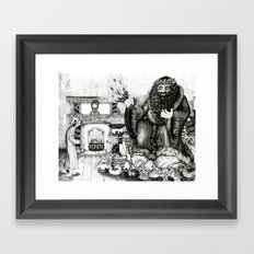Scrooge and the Ghost of Christmas Present Framed Art Print