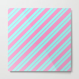 Blue and Pink Peppermint Metal Print