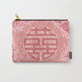 Double Happiness Symbol on Pink Peonies Carry-All Pouch