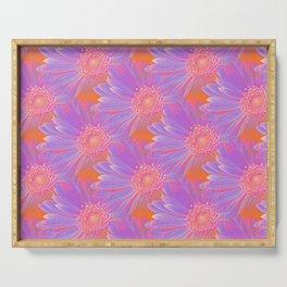 Gerbera Flower Pattern in Purple And Orange Serving Tray