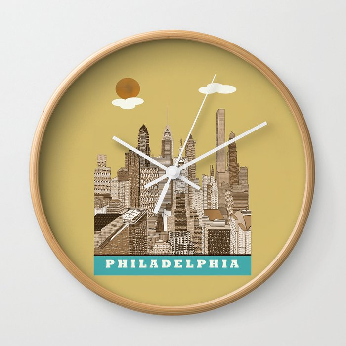 Philadelphia skyline vintage Wall Clock