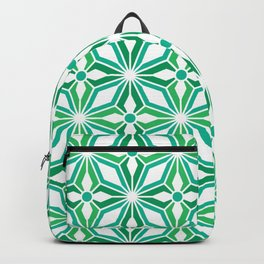 Green geometric stars and starbursts optical pattern Backpack