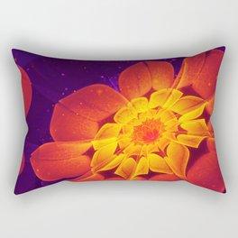 Royal Blue, Red, and Yellow Fractal Gerbera Daisy Rectangular Pillow