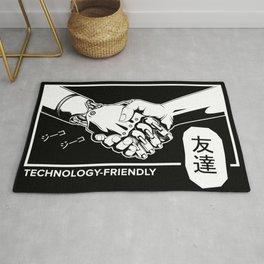 Human and robot handshake. Friendship sign Rug