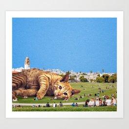 Cat In The Park Art Print