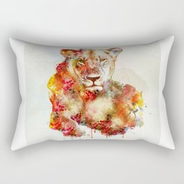 Resting Lioness Watercolor Painting Rectangular Pillow