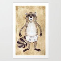 Animals in Underpants - Racoon Art Print