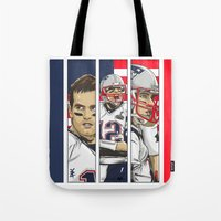 patriots Tote Bags featuring Brady Champion Super Bowl XLIX  by Akyanyme